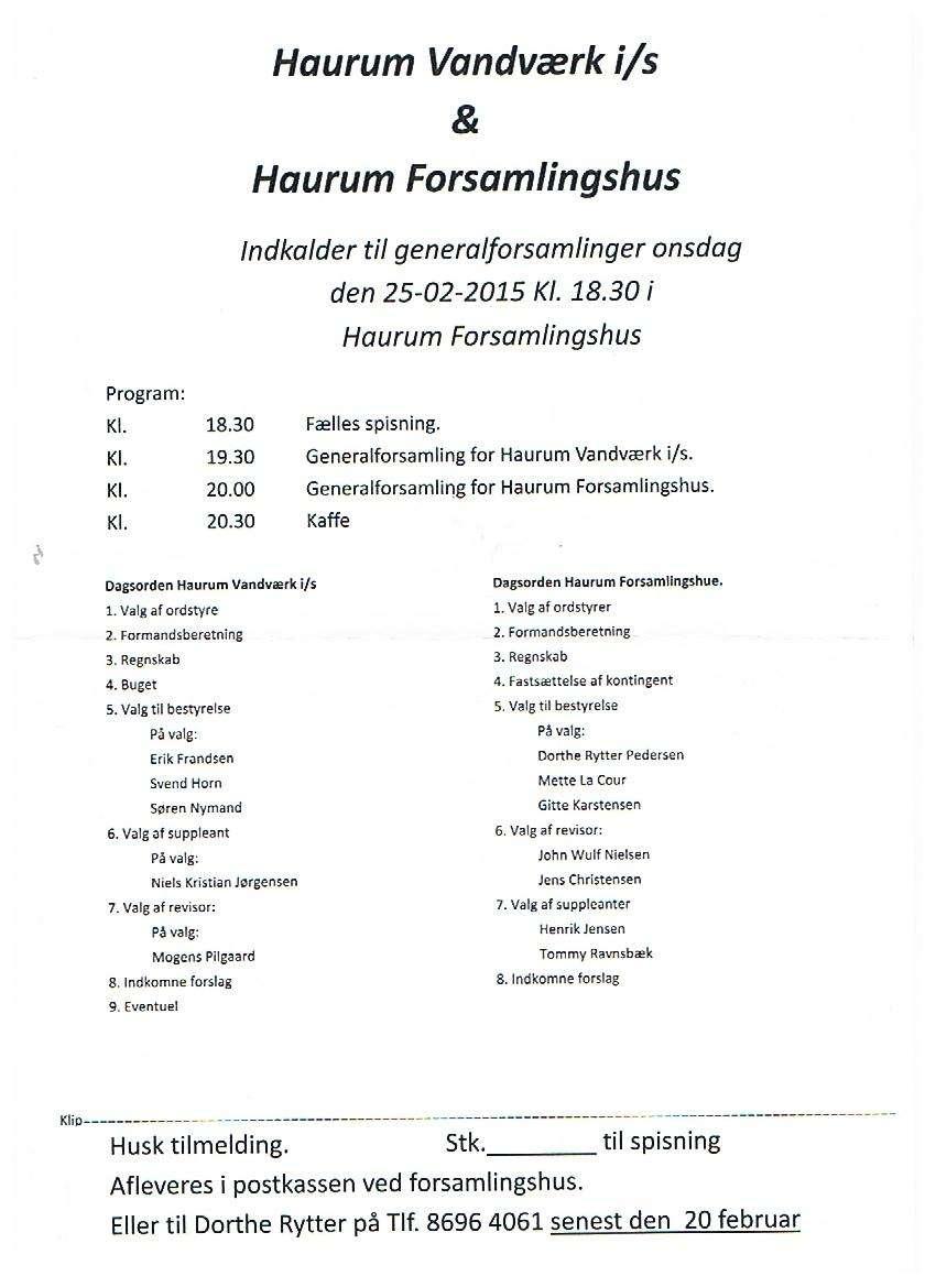 Generalforsamling Vandværk og Forsamlingshus